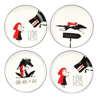 Lekoch 4pcs ceramic Little Red Hat Dinner Plate Tableware Set