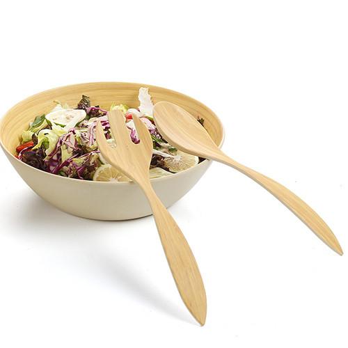 Lekoch 2 Pieces Bamboo Fiber Salad Servers Forks Spoons Eco Friendly Set