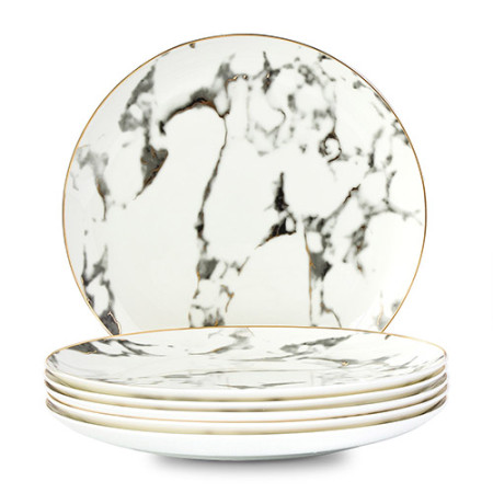 Lekoch 4 PCS Marble Pattern Porcelain Ceramic Dinnerware Set Steak Dish