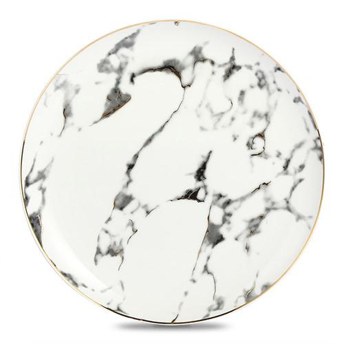 Lekoch 4 PCS Marble Pattern Porcelain Ceramic Dinnerware Set Steak Dish