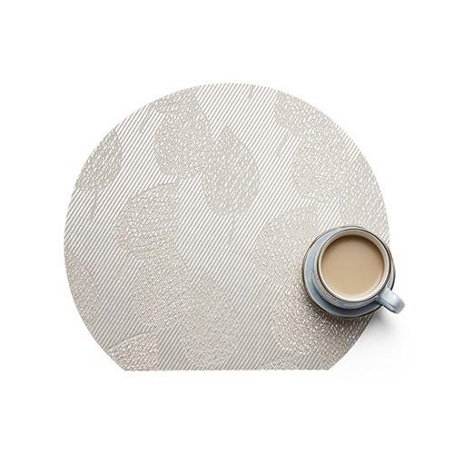 Lekoch 4Pcs Placemat Waterproof PVC Dining Table Mat Bowl Pads Silver Leaf Design
