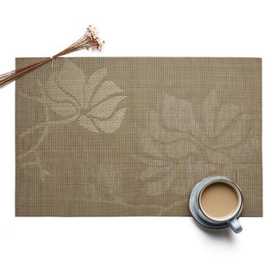 Lekoch 5Pcs Placemat Waterproof PVC Dining Table Mat Bowl Pads Flower Design