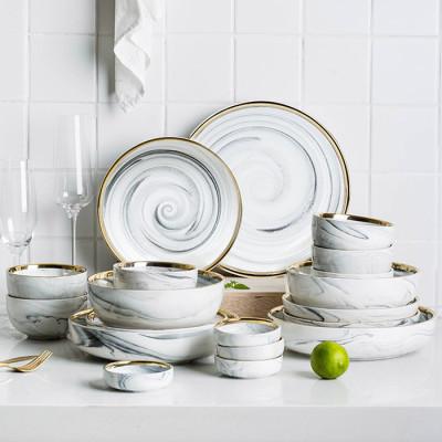 Lekoch European Marble Pattern Porcelain Ceramic Dinnerware Plates Bowls