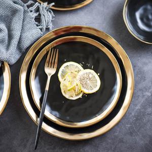 Lekoch 2 PCS  Gold & Black Porcelain Ceramic Dinnerware Set Steak Dishes