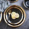 Lekoch 2 PCS  Gold & Black Porcelain Ceramic Dinnerware Set Steak Dishes