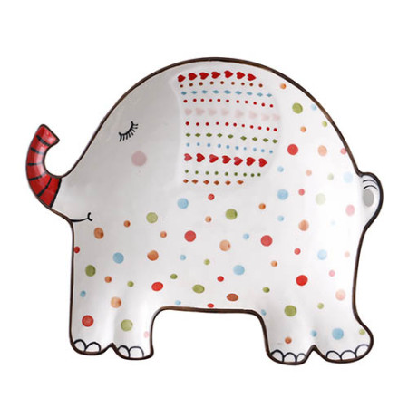 Lekoch Elephant Ceramic Kids Plates Porcelain Dinner Plate Cute Dinnerware