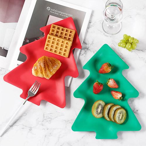 Lekoch Eco Friendly Christmas Tree Dishes Set Dessert Plates 4PCS