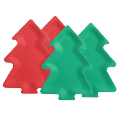 Lekoch Eco Friendly Christmas Tree Dishes Set Dessert Plates 4PCS