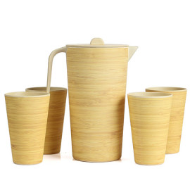 Lekoch Eco Friendly Bamboo Fiber Drinkware Set