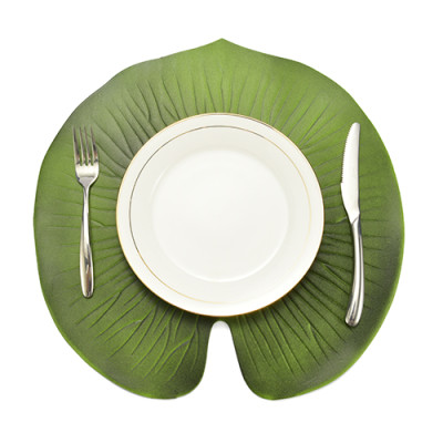 Lekoch 5Pcs Green Leaf Placemat Waterproof Dining Table Mat Bowl Pads