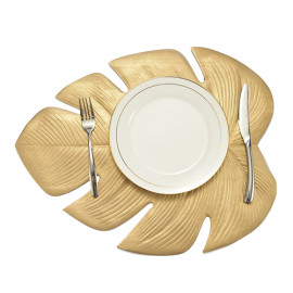 Lekoch 5Pcs Gold Leaf Placemat Waterproof Dining Table Mat Bowl Pads