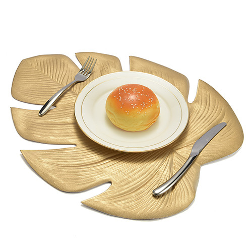 Lekoch 5Pcs Gold Leaf Placemat Waterproof Dining Table Mat Bowl Pads