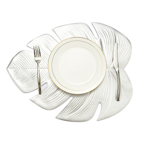 Lekoch 5Pcs Silver Leaf Placemat Waterproof Dining Table Mat Bowl Pads