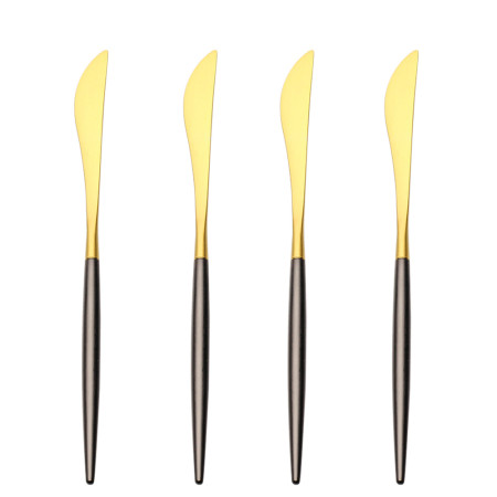 LEKOCH 4PCS Dinner Knifes Set Gold & Black 18/10 Stainless Steel