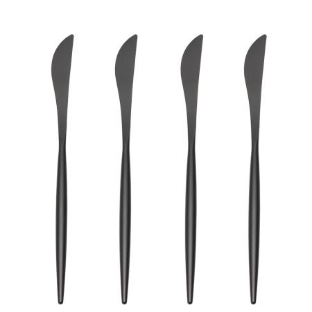 LEKOCH 4PCS Dinner Knifes Set Black 18/10 Stainless Steel