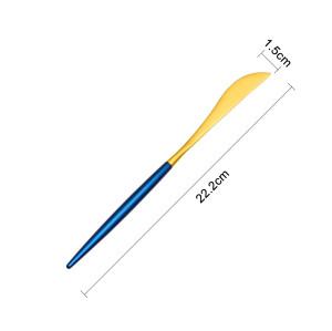 LEKOCH 4PCS Dinner Knifes Set Gold & Blue 18/10 Stainless Steel