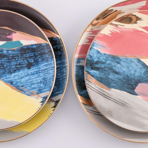 Lekoch 4 PCS Porcelain Bone China Dinnerware Set