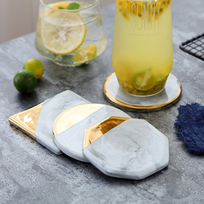 Lekoch 4 PCS Marble Ceramic Placemat Coffee Mats Mug Pads