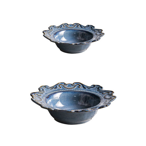 Lekoch 5pcs Blue Vintage Dinnerware set Dinner Plates