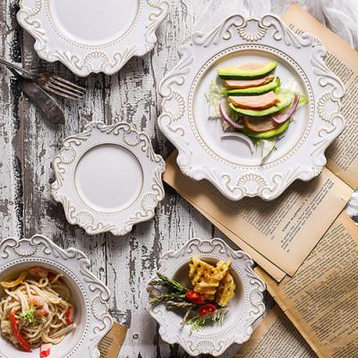 Lekoch 5pcs White Vintage Dinnerware set Dinner Plates