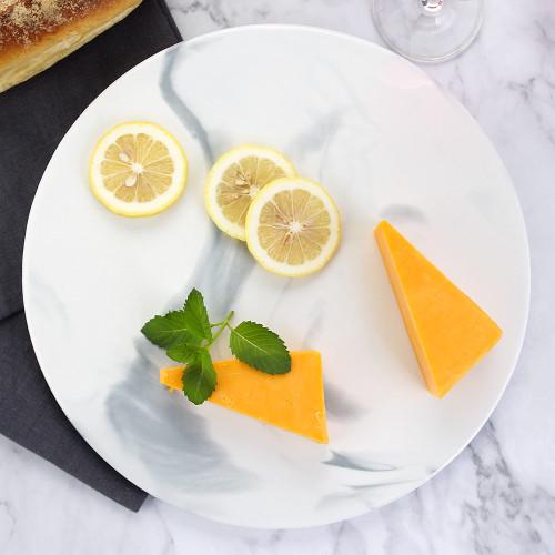 Lekoch Bone China Marbling Cheese Plates Pizza Flat - 29.3cm