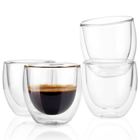 Lekoch 4PCS 80ML Heat-resistant Double Wall Glass Cup Beer Coffee Cup