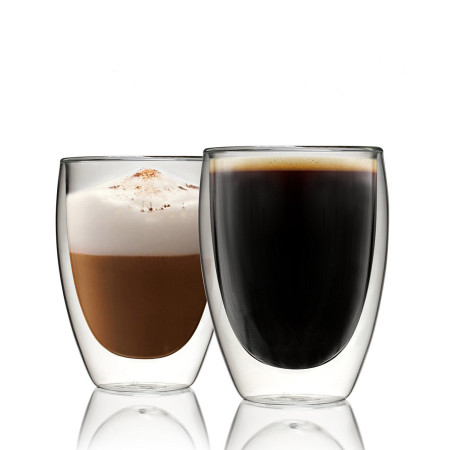 Lekoch 2PCS 350ML Heat-resistant Double Wall Glass Cup Beer Coffee Cup