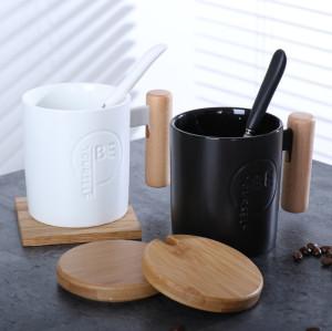 Lekoch Black Ceramic Coffee Tea Cups Milk Juice Mug