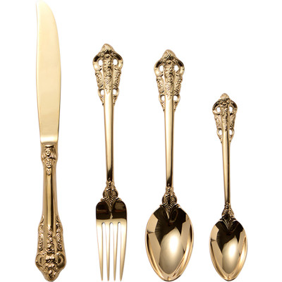 Lekoch Vintage Openwork Carved Gold Flatware Set of 4