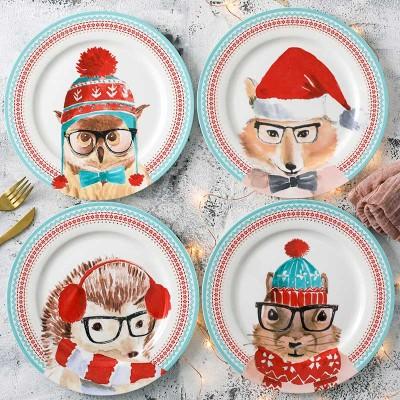Lekoch Bone China Christmas Dinner Plates Set of 4 - 26cm
