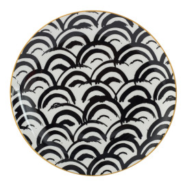 Lekoch Bone China Geometric Wave Pattern Dinner Plates