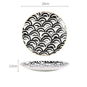 Lekoch Bone China Geometric Dinner Plates - 26cm