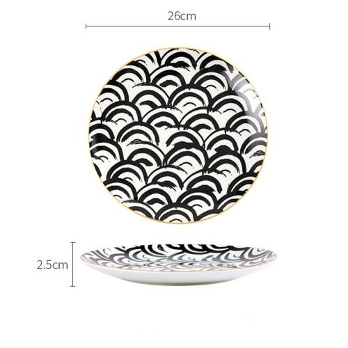 Lekoch Bone China Geometric Wave Pattern Dinner Plates