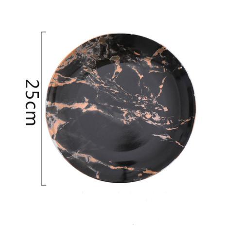 Lekoch 4 PCS Golden Marble Pattern Porcelain Ceramic Plates Set - 25cm