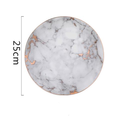 Lekoch Marble Plate Ceramic Dinner Plates - 25cm