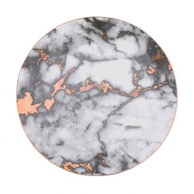Lekoch Marble Plate 10 inch Ceramic Dinner Plates - White