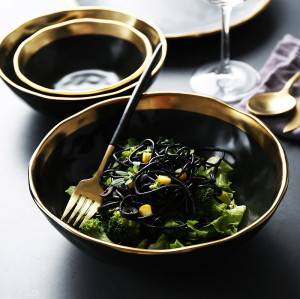 Lekoch Matte Gilt-edged Black Ceramic Bowl - 1350ml