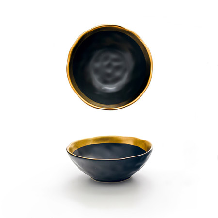 Lekoch Matte Gilt-edged Black Ceramic Bowl - 350ml