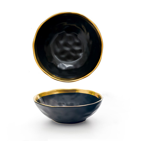 Lekoch Matte Gilt-edged Black Ceramic Bowl - 750ml