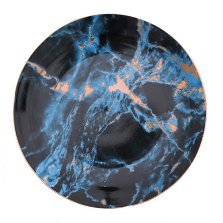 Lekoch Blue Marble Plate Ceramic Dinner Plates - 25cm
