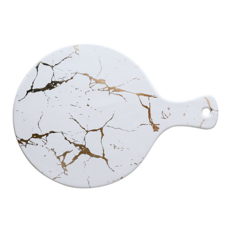 Lekoch Matte Marble Black/White Ceramic Pizza Plates