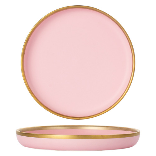 Lekoch 9 inch Matte Pink Gilt-Edged Ceramic Plates