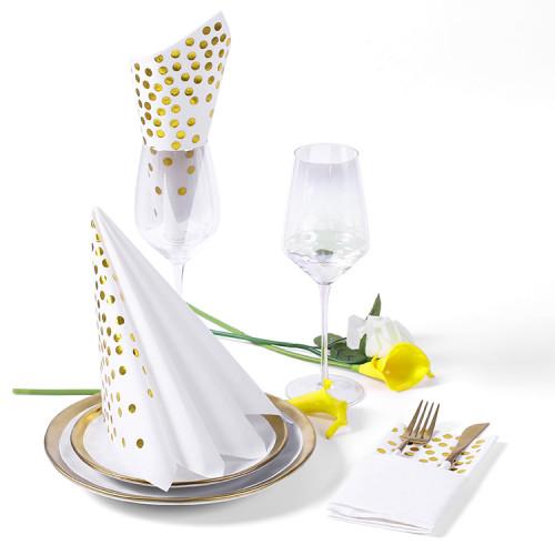 Lekoch Air-laid Disposables Paper White with Gold Dots Napkins 50PCS