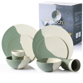 Lekoch® 8pcs Eco Friendly Bamboo Fiber Dinnerware Set for 2
