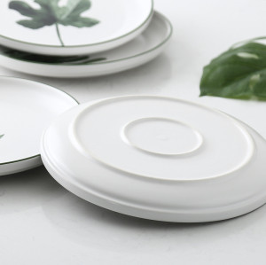 Lekoch 7 PCS Nordic style Ceramic Plate 8 inches Green Plants Dinner Dishes