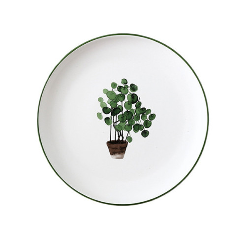 Lekoch Nordic Style Plate Ceramic Dinner Plates 8 inches--Leaf H