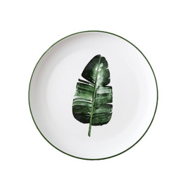 Lekoch Nordic Style Plate Ceramic Dinner Plates 8 inches--Leaf B