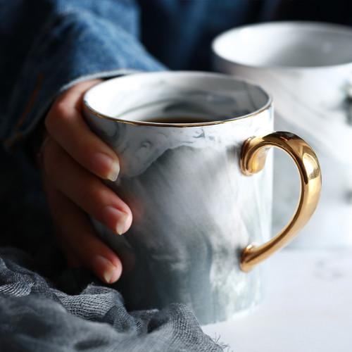 Lekoch Gold Blue Ceramic Mug Coffee Cup Milk Cups