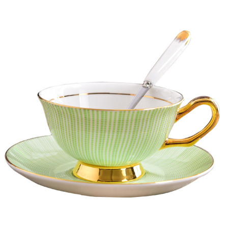 Lekoch Bone China Teacup Saucer Set Coffee Cup Green