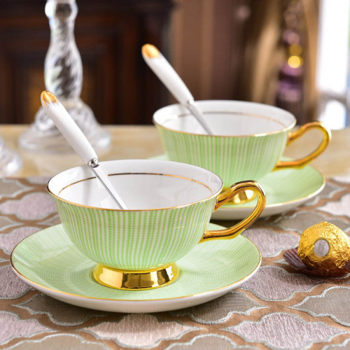 Lekoch Bone China Teacup Saucer Set Coffee Cup Green